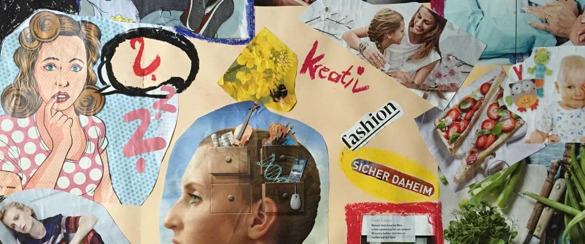 Maltherapie Wien Gestaltungstherapie Kreativtraining Wien Ute Riedlmair kreative Collage