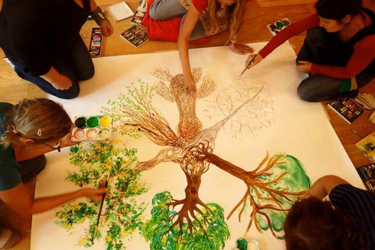 Maltherapie Gestaltungstherapie Kreativtraining Wien Ute Riedlmair Maltherapie Gruppe gemeinsam gestalten